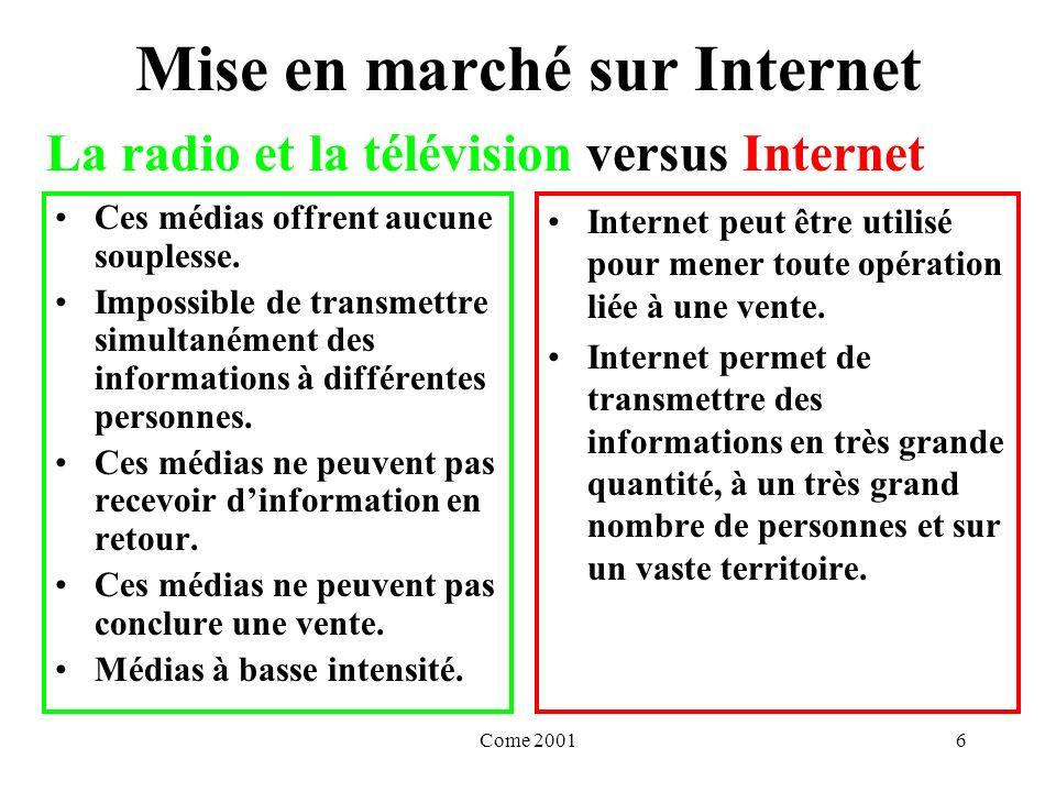 Come 20016 Mise en marché sur Internet Ces médias offrent aucune souplesse.