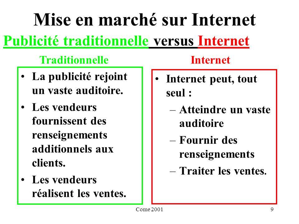 Come 200110 Mise en marché sur Internet La comparaison entre la publicité traditionnelle et Internet permet daffirmer quInternet est : un marché public un outil de communication Publicité traditionnelle versus Internet