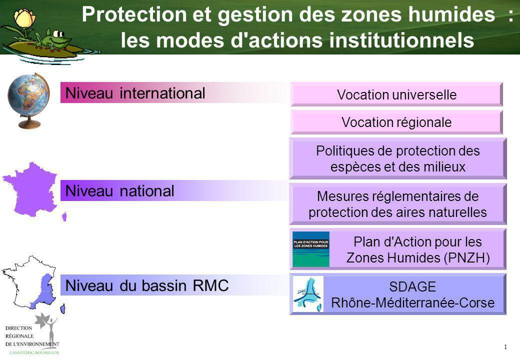 1 Protection et gestion des zones humides : les modes d actions institutionnels Niveau international Niveau national Niveau du bassin RMC Vocation universelle Vocation régionale Plan d Action pour les Zones Humides (PNZH) Mesures réglementaires de protection des aires naturelles SDAGE Rhône-Méditerranée-Corse Politiques de protection des espèces et des milieux