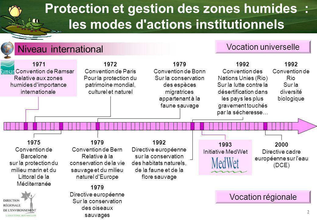 2 1972 Convention de Paris Pour la protection du patrimoine mondial, culturel et naturel 1979 Convention de Bonn Sur la conservation des espèces migra