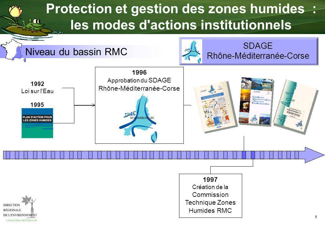 6 Niveau du bassin RMC 1996 Approbation du SDAGE Rhône-Méditerranée-Corse 1992 Loi sur l'Eau 1995 SDAGE Rhône-Méditerranée-Corse 1997 Création de la C