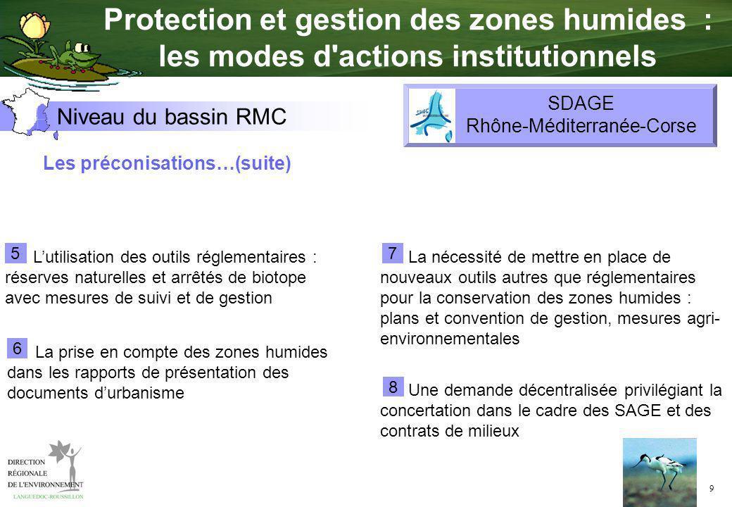9 Les préconisations…(suite) Lutilisation des outils réglementaires : réserves naturelles et arrêtés de biotope avec mesures de suivi et de gestion 5
