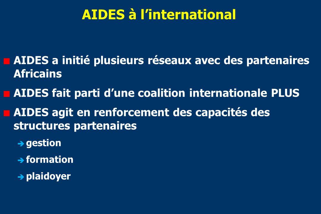 AIDES à linternational AIDES a initié plusieurs réseaux avec des partenaires Africains AIDES fait parti dune coalition internationale PLUS AIDES agit en renforcement des capacités des structures partenaires gestion formation plaidoyer