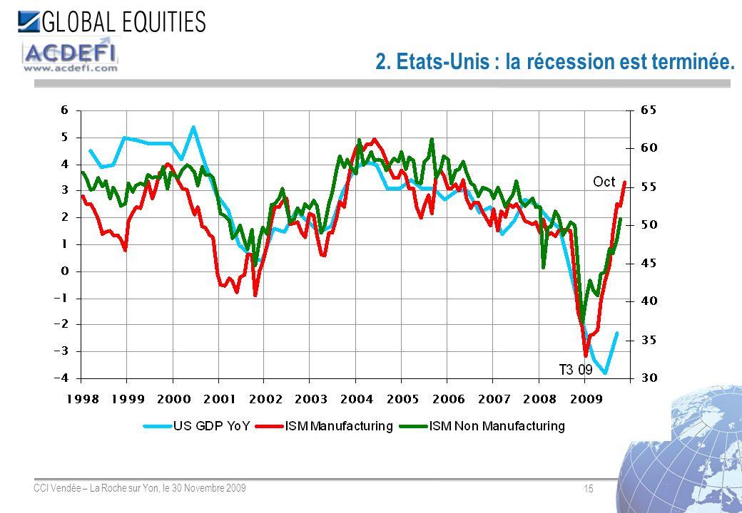 15 CCI Vendée – La Roche sur Yon, le 30 Novembre 2009 2. Etats-Unis : la récession est terminée.