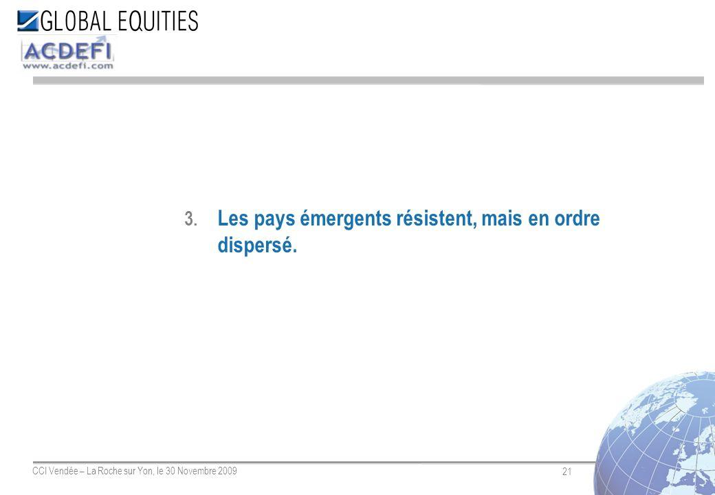 21 CCI Vendée – La Roche sur Yon, le 30 Novembre 2009 3. Les pays émergents résistent, mais en ordre dispersé.