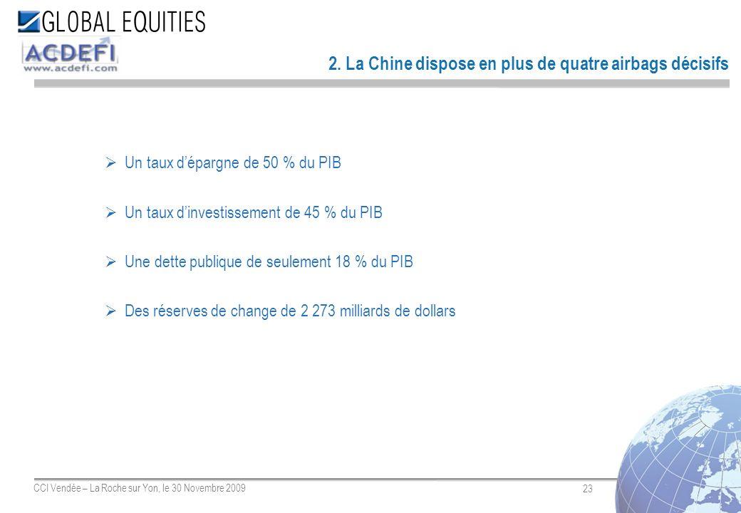 23 CCI Vendée – La Roche sur Yon, le 30 Novembre 2009 2. La Chine dispose en plus de quatre airbags décisifs Un taux dépargne de 50 % du PIB Un taux d