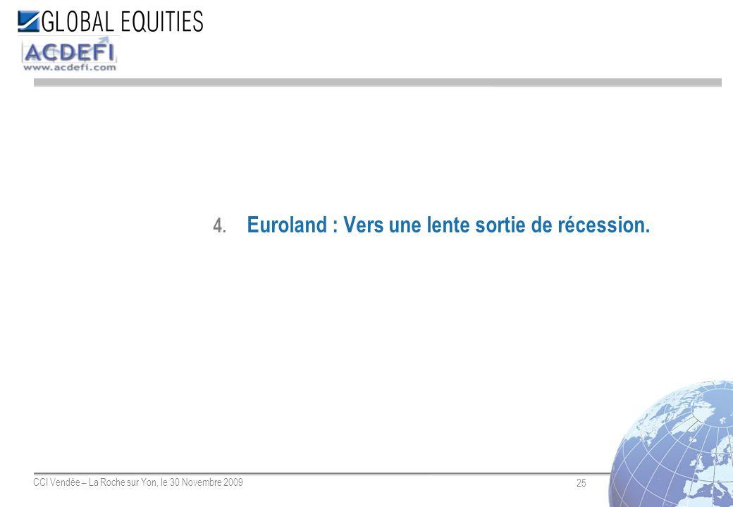 25 CCI Vendée – La Roche sur Yon, le 30 Novembre 2009 4. Euroland : Vers une lente sortie de récession.