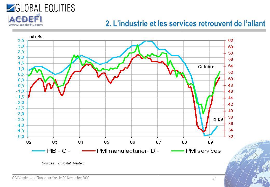 27 CCI Vendée – La Roche sur Yon, le 30 Novembre 2009 2. Lindustrie et les services retrouvent de lallant Sources : Eurostat, Reuters