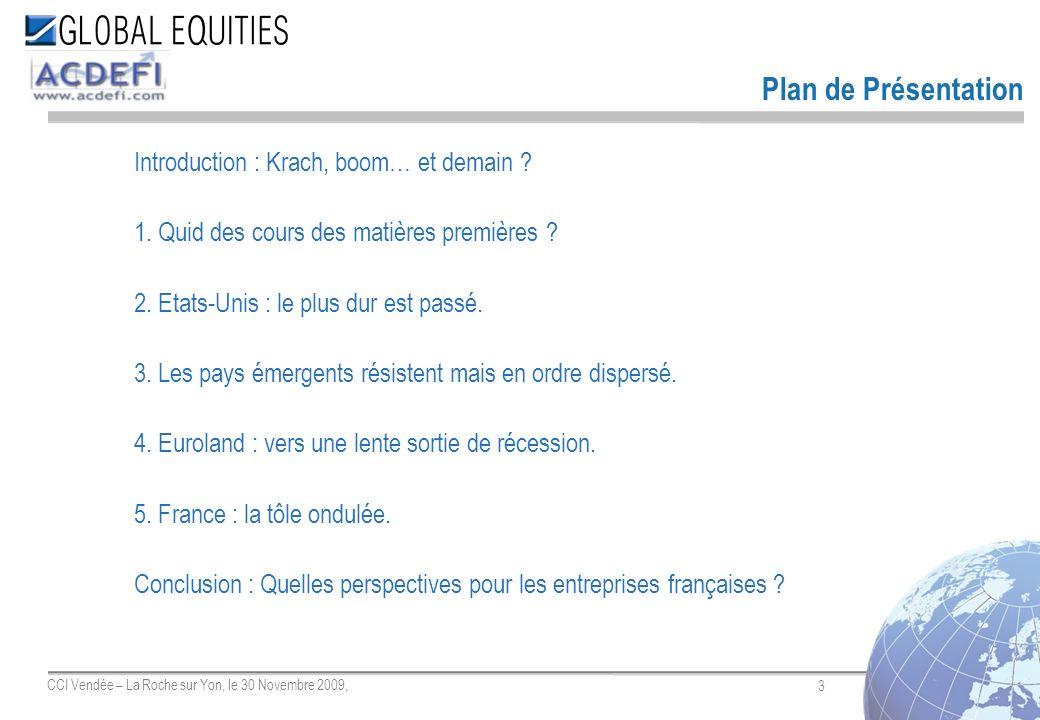 3 CCI Vendée – La Roche sur Yon, le 30 Novembre 2009, Introduction : Krach, boom… et demain ? 1. Quid des cours des matières premières ? 2. Etats-Unis