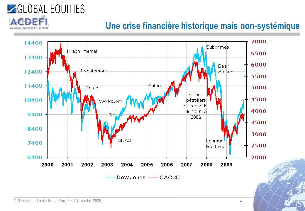 45 CCI Vendée – La Roche sur Yon, le 30 Novembre 2009, Entreprise dInvestissement 23, rue Balzac 75008 Paris Standard +33(0) 1 444 333 00 Fax +33(0) 1 70 70 19 19 Recherche économique et financière Marc Touati Directeur des Etudes Economiques & Financières LD: +33 (0)1 444 333 80 mtouati@global-equities.com Jérôme Boué Economiste LD: +33 (0)1 444 333 77 jboue@global-equities.com Luis Cameirao Assistant Stratégiste LD: +33 (0)1 444 333 69 lcameirao@global-equities.com Le présent document a pour seul but dinformer, et son contenu ne doit être considéré ni comme une offre, ni comme une sollicitation doffre, dacheter ou de vendre un des instruments financiers, ni comme une offre contractuelle en général ; et aucune garantie nest donnée concernant son exactitude, son caractère exhaustif ou sa transparence.