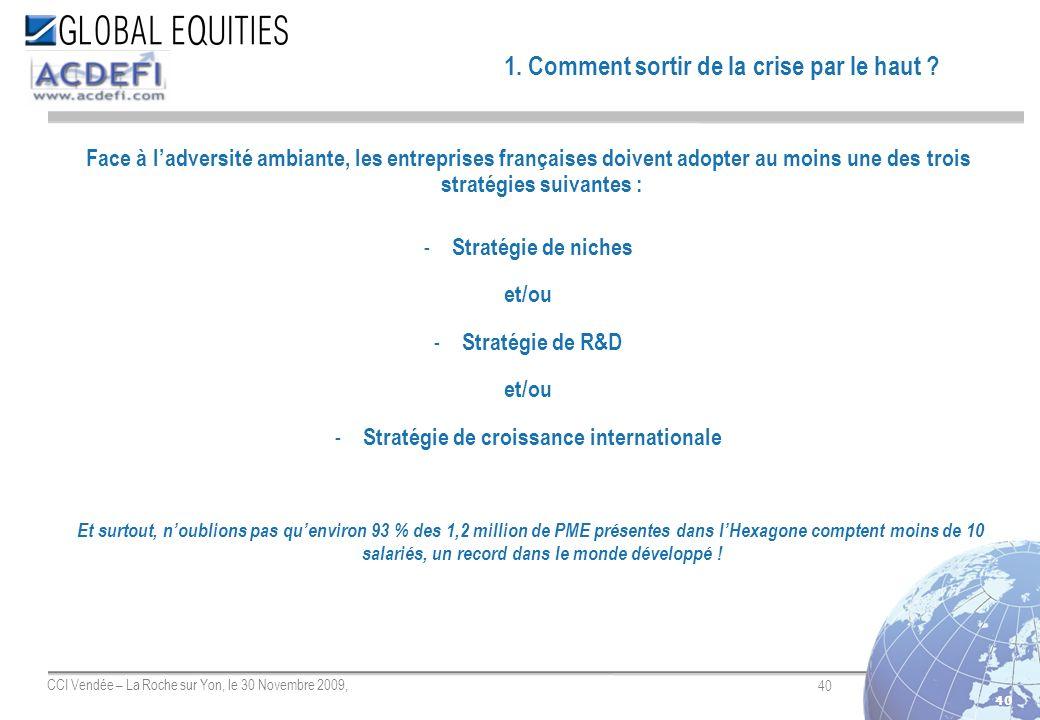 40 CCI Vendée – La Roche sur Yon, le 30 Novembre 2009, 40 Face à ladversité ambiante, les entreprises françaises doivent adopter au moins une des troi