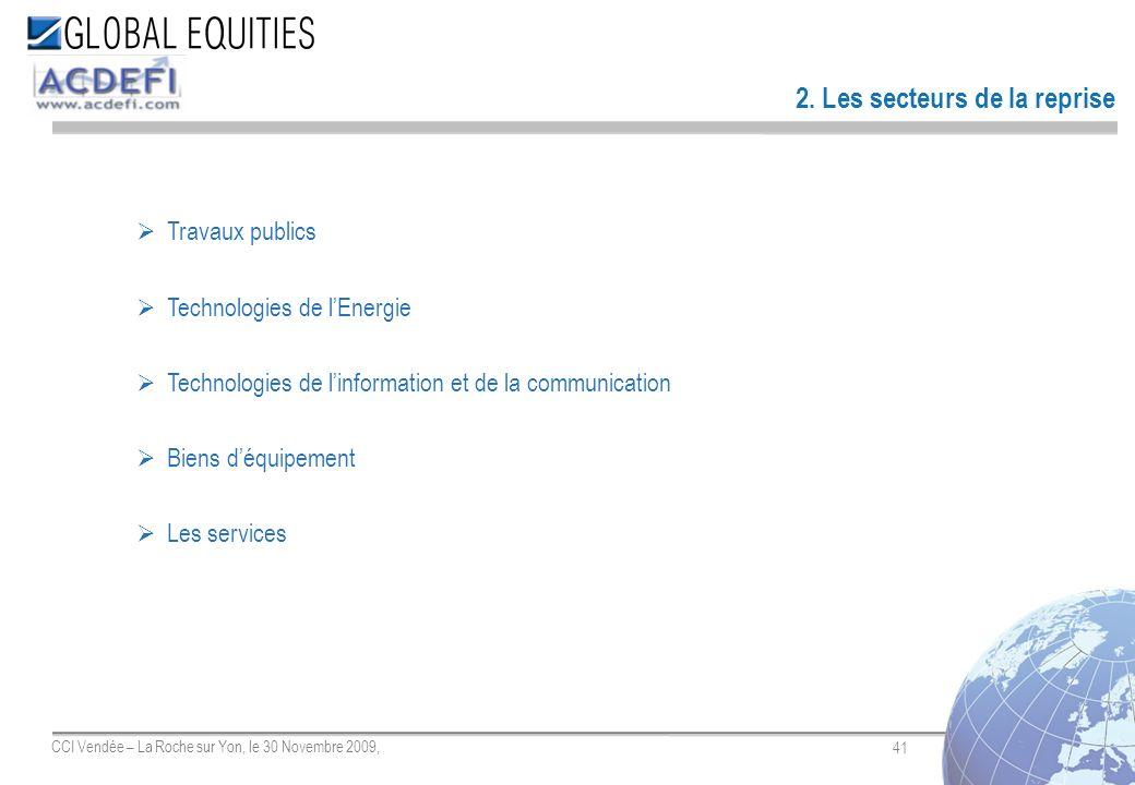 41 CCI Vendée – La Roche sur Yon, le 30 Novembre 2009, 2. Les secteurs de la reprise Travaux publics Technologies de lEnergie Technologies de linforma