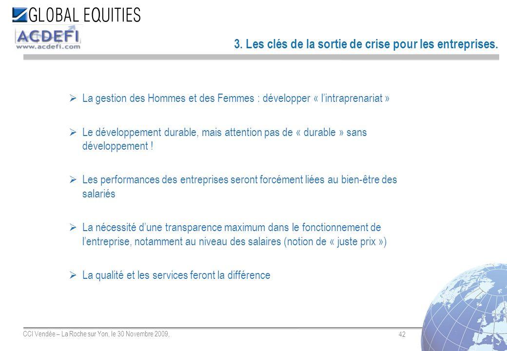 42 CCI Vendée – La Roche sur Yon, le 30 Novembre 2009, 3. Les clés de la sortie de crise pour les entreprises. La gestion des Hommes et des Femmes : d