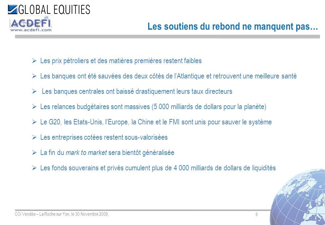 6 CCI Vendée – La Roche sur Yon, le 30 Novembre 2009, Les soutiens du rebond ne manquent pas… Les prix pétroliers et des matières premières restent fa