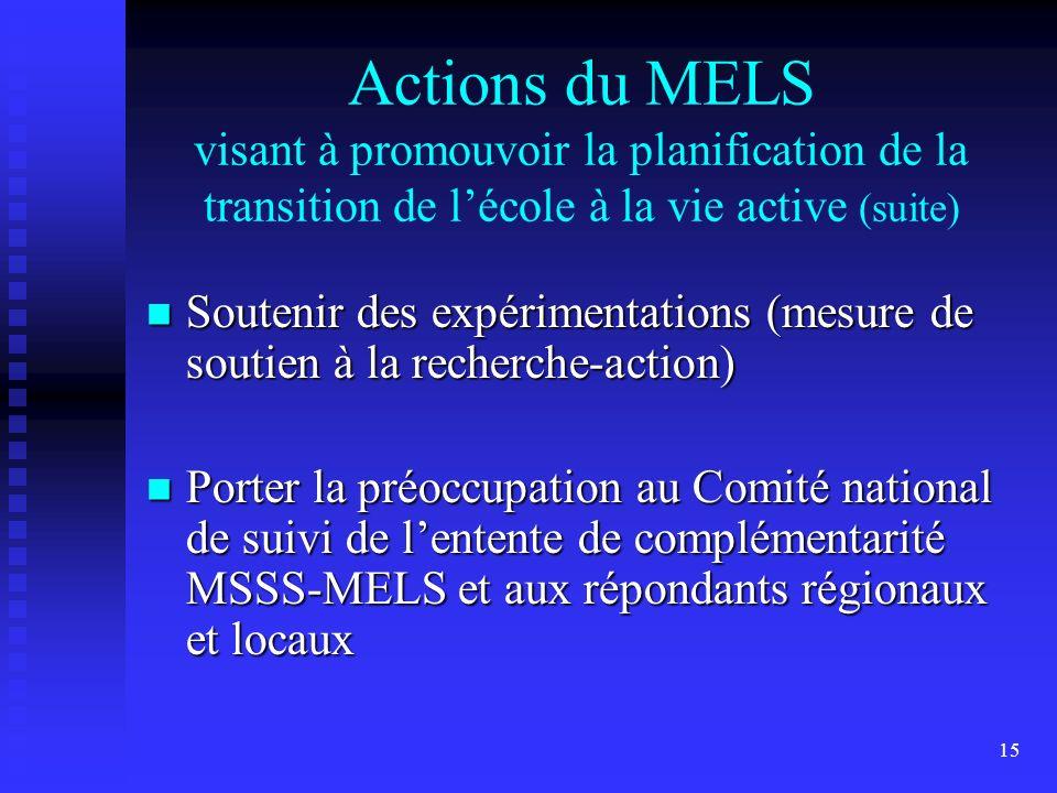 15 Actions du MELS visant à promouvoir la planification de la transition de lécole à la vie active (suite) Soutenir des expérimentations (mesure de soutien à la recherche-action) Soutenir des expérimentations (mesure de soutien à la recherche-action) Porter la préoccupation au Comité national de suivi de lentente de complémentarité MSSS-MELS et aux répondants régionaux et locaux Porter la préoccupation au Comité national de suivi de lentente de complémentarité MSSS-MELS et aux répondants régionaux et locaux