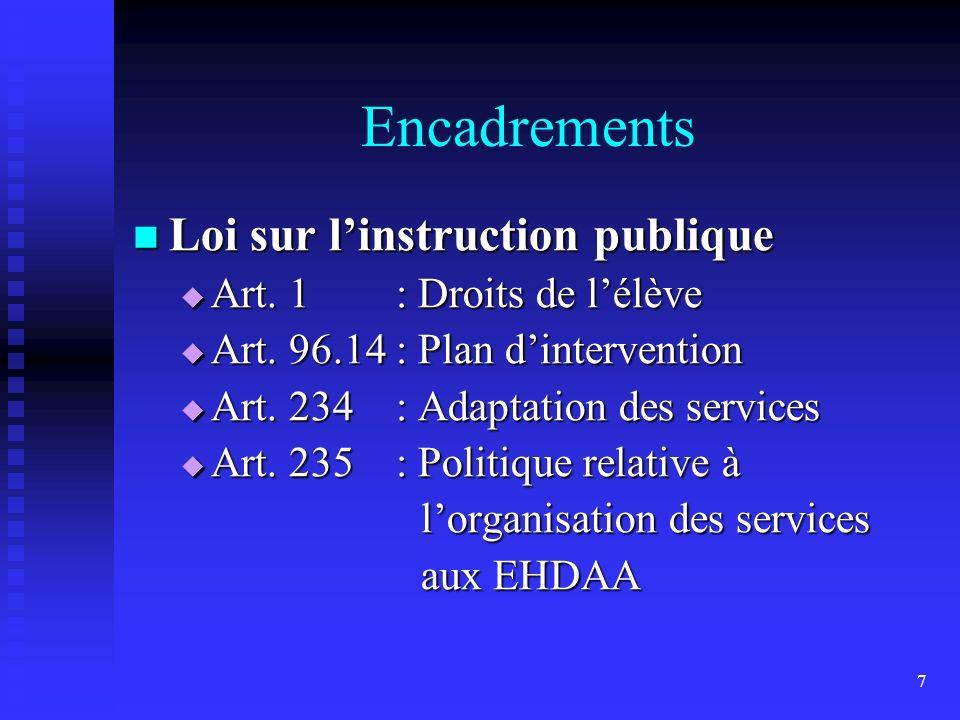 7 Encadrements Loi sur linstruction publique Loi sur linstruction publique Art.