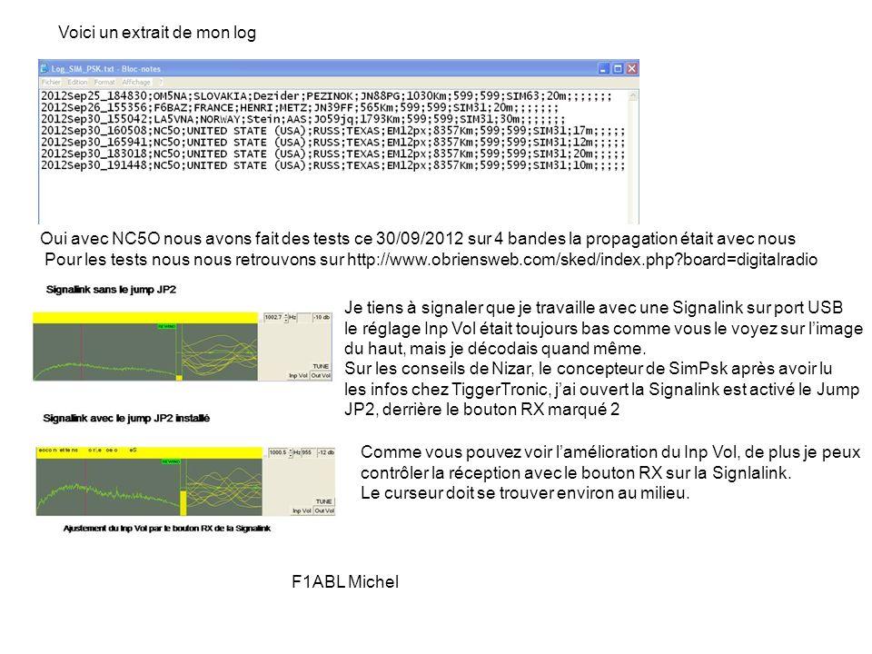Voici un extrait de mon log Oui avec NC5O nous avons fait des tests ce 30/09/2012 sur 4 bandes la propagation était avec nous Je tiens à signaler que