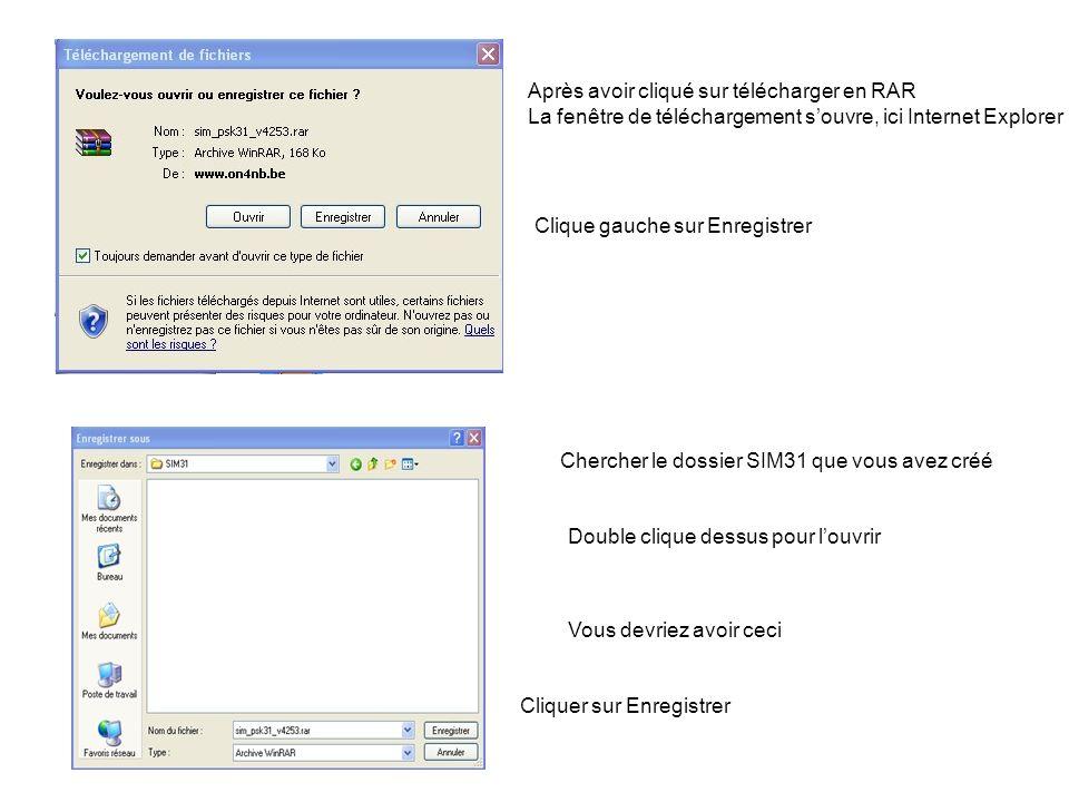Après avoir cliqué sur télécharger en RAR La fenêtre de téléchargement souvre, ici Internet Explorer Clique gauche sur Enregistrer Chercher le dossier