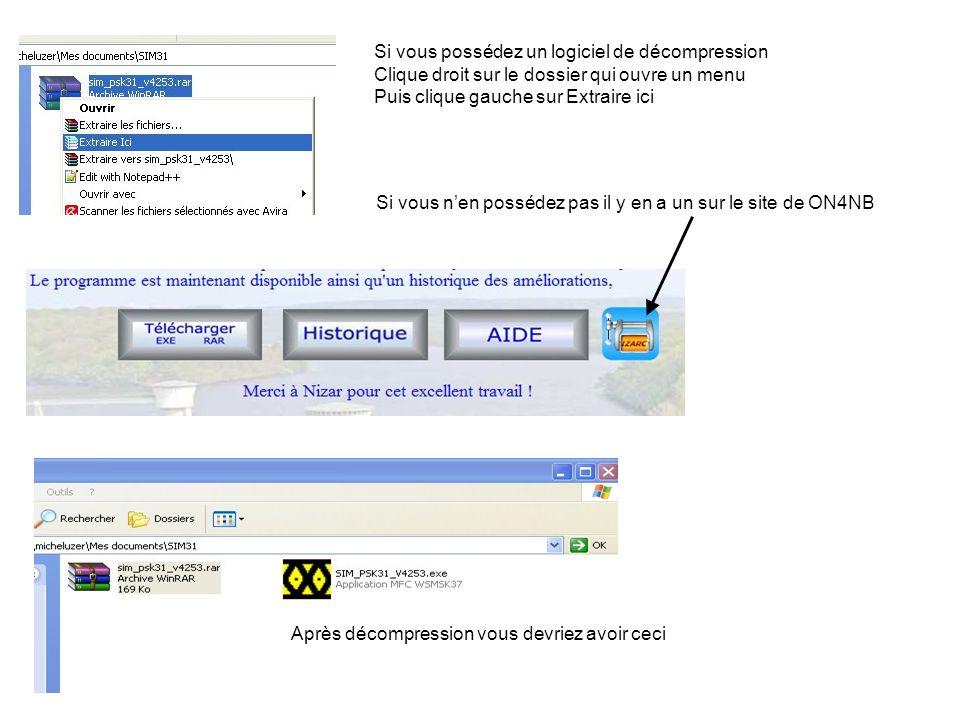Guide dutilisation SIM31/63 Pour plus de facilités je crée un icône de démarrage sur le bureau Clique droit sur icône dans le dossier SIM31 choisir copier Clique droit sur le bureau choisir Coller le raccourci 2 cliques gauche sur licône pour ouvrir le logiciel Fenêtre de détermination de la carte son Réglage de puissance du signal de sortie Détermination CAT system ou non Choix du port Réglage en cas de CAT Je ne trafique pas avec un CAT system donc je nai aucune aide à vous proposer Clique sur les triangles noirs pour choisir Ma configuration Choix de la carte son In et Out Si pas CAT
