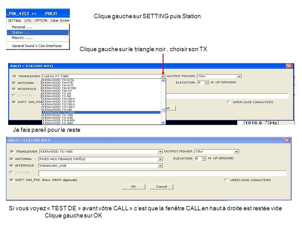 Clique gauche sur SETTING puis Macros Choix des différents CQ Envoi de SIM en CW avant chaque messages Envoi dun Tune avant le CQ Réglage du délai du CQ automatique Active ou désactive le CQ automatique Clique gauche sur OK