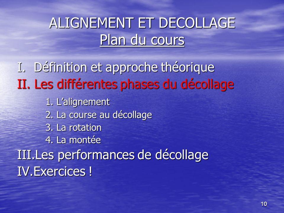 10 ALIGNEMENT ET DECOLLAGE Plan du cours I. Définition et approche théorique II. Les différentes phases du décollage 1. Lalignement 2. La course au dé