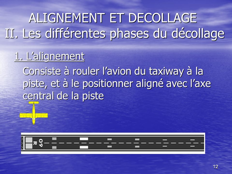 12 ALIGNEMENT ET DECOLLAGE II. Les différentes phases du décollage 1. Lalignement Consiste à rouler lavion du taxiway à la piste, et à le positionner