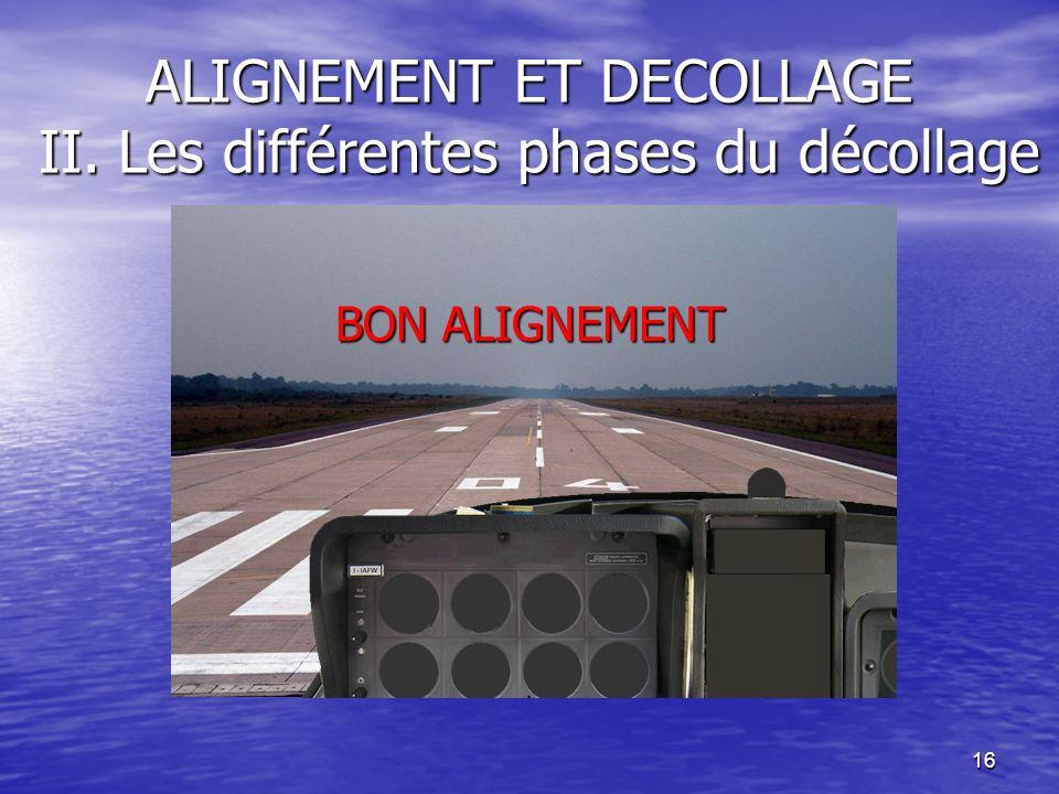 16 ALIGNEMENT ET DECOLLAGE II. Les différentes phases du décollage BON ALIGNEMENT
