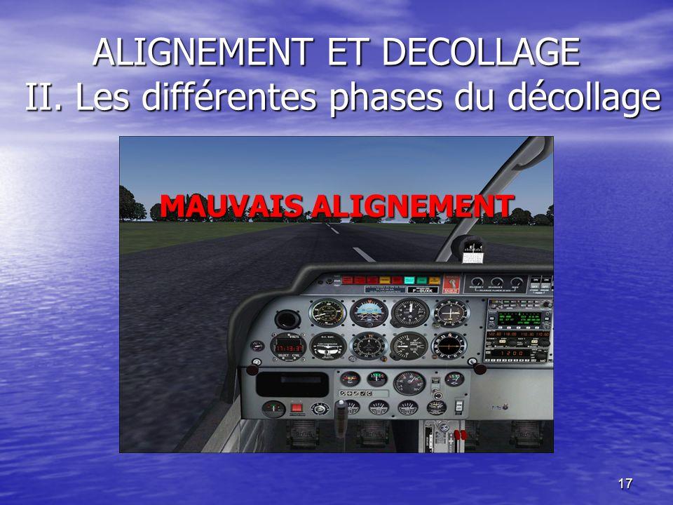 17 ALIGNEMENT ET DECOLLAGE II. Les différentes phases du décollage MAUVAIS ALIGNEMENT