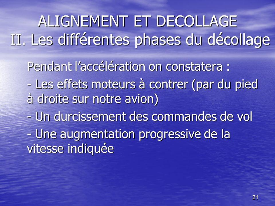 21 ALIGNEMENT ET DECOLLAGE II. Les différentes phases du décollage Pendant laccélération on constatera : - Les effets moteurs à contrer (par du pied à