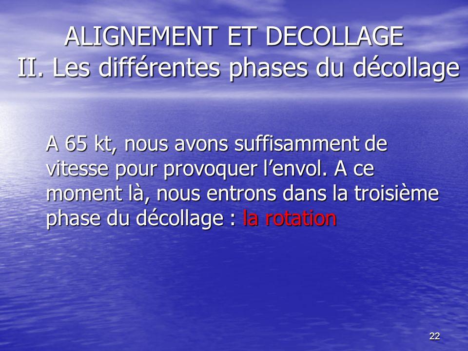 22 ALIGNEMENT ET DECOLLAGE II. Les différentes phases du décollage A 65 kt, nous avons suffisamment de vitesse pour provoquer lenvol. A ce moment là,