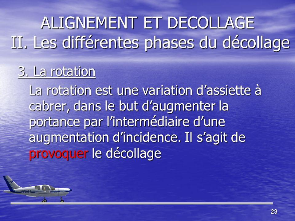 23 ALIGNEMENT ET DECOLLAGE II. Les différentes phases du décollage 3. La rotation La rotation est une variation dassiette à cabrer, dans le but daugme