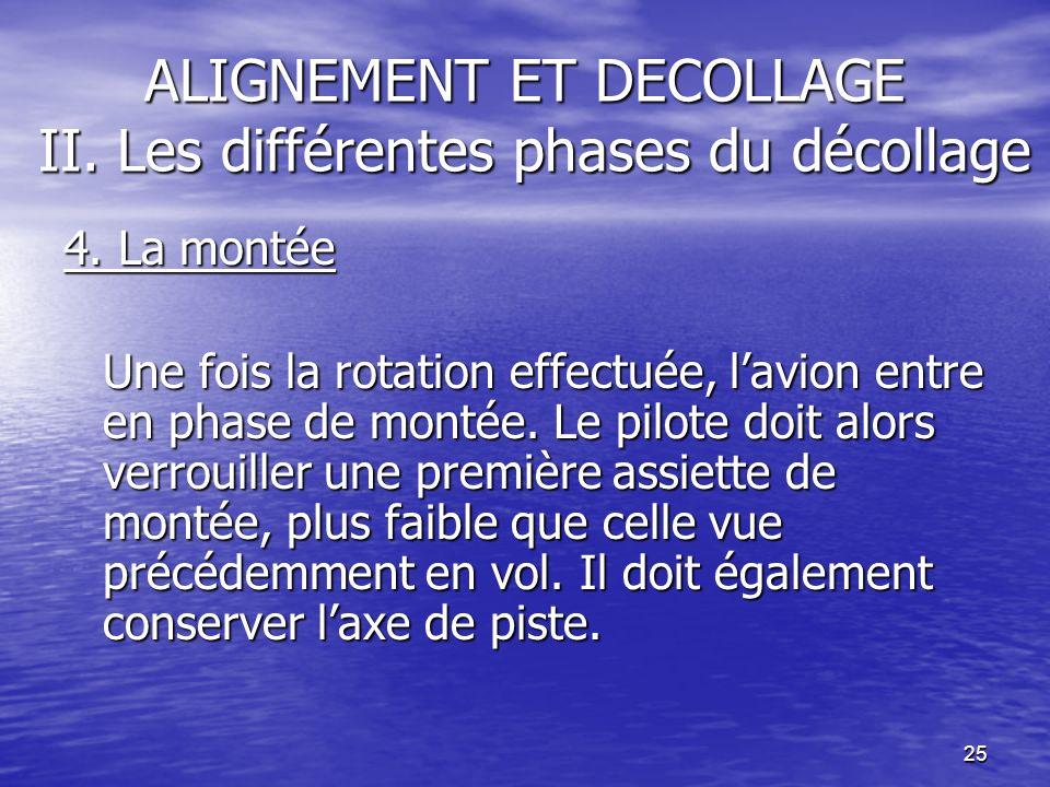 25 ALIGNEMENT ET DECOLLAGE II. Les différentes phases du décollage 4. La montée Une fois la rotation effectuée, lavion entre en phase de montée. Le pi