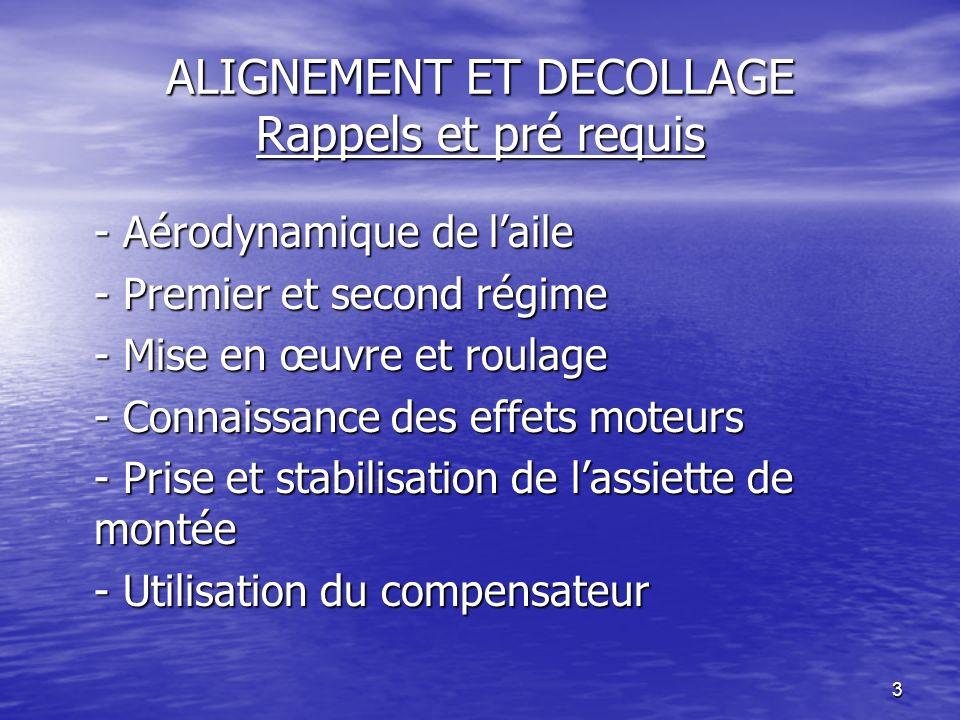 3 ALIGNEMENT ET DECOLLAGE Rappels et pré requis - Aérodynamique de laile - Premier et second régime - Mise en œuvre et roulage - Connaissance des effe