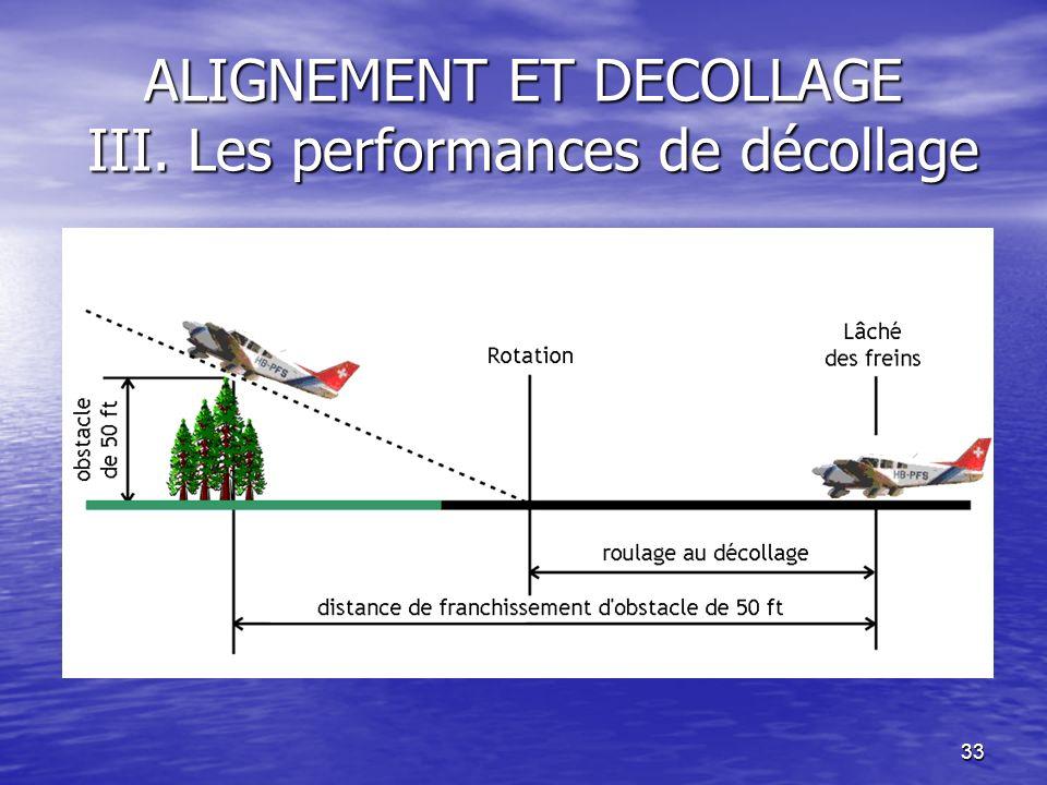 33 ALIGNEMENT ET DECOLLAGE III. Les performances de décollage
