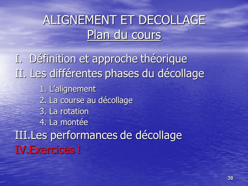 38 ALIGNEMENT ET DECOLLAGE Plan du cours I. Définition et approche théorique II. Les différentes phases du décollage 1. Lalignement 2. La course au dé