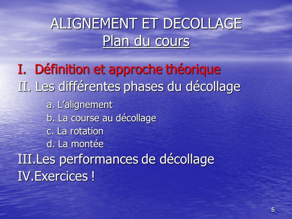 5 ALIGNEMENT ET DECOLLAGE Plan du cours I. Définition et approche théorique II. Les différentes phases du décollage a. Lalignement b. La course au déc