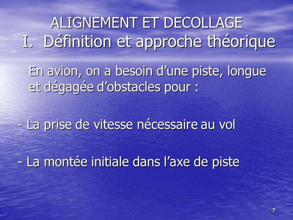 7 ALIGNEMENT ET DECOLLAGE I. Définition et approche théorique En avion, on a besoin dune piste, longue et dégagée dobstacles pour : - La prise de vite