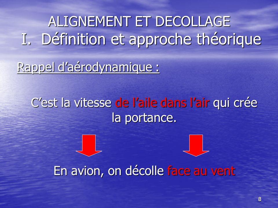 8 ALIGNEMENT ET DECOLLAGE I. Définition et approche théorique Rappel daérodynamique : Cest la vitesse de laile dans lair qui crée la portance. En avio
