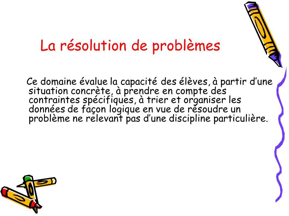 La résolution de problèmes Ce domaine évalue la capacité des élèves, à partir dune situation concrète, à prendre en compte des contraintes spécifiques
