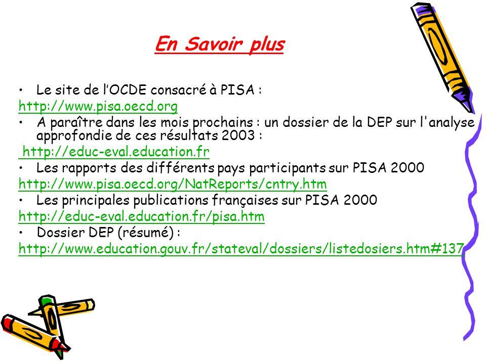 En Savoir plus Le site de lOCDE consacré à PISA : http://www.pisa.oecd.org A paraître dans les mois prochains : un dossier de la DEP sur l'analyse app