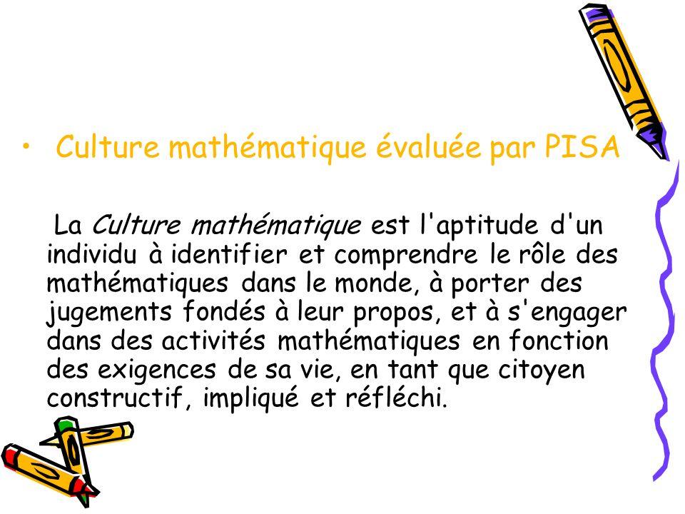 Culture mathématique évaluée par PISA La Culture mathématique est l'aptitude d'un individu à identifier et comprendre le rôle des mathématiques dans l