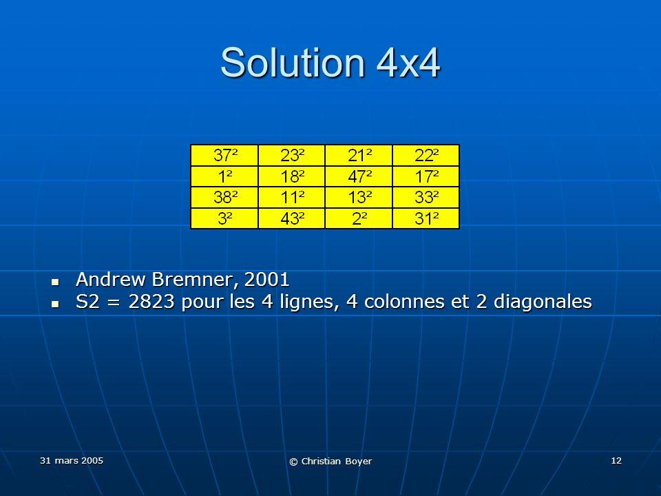 31 mars 2005 © Christian Boyer 11 Recherches informatiques Andrew Bremner, Acta Arithmetica, 2001 Andrew Bremner, Acta Arithmetica, 2001 Remarque simple Remarque simple Pour quun carré magique 3x3 puisse avoir 9 entiers carrés, il faut que toutes les combinaisons possibles de 6 entiers carrés, parmi 9, aient des solutionsPour quun carré magique 3x3 puisse avoir 9 entiers carrés, il faut que toutes les combinaisons possibles de 6 entiers carrés, parmi 9, aient des solutions Résultat… Résultat… Nombreuses solutions pour chacune de ces 16 combinaisons possiblesNombreuses solutions pour chacune de ces 16 combinaisons possibles Il ny a donc aucun « blocage » à ce niveauIl ny a donc aucun « blocage » à ce niveau