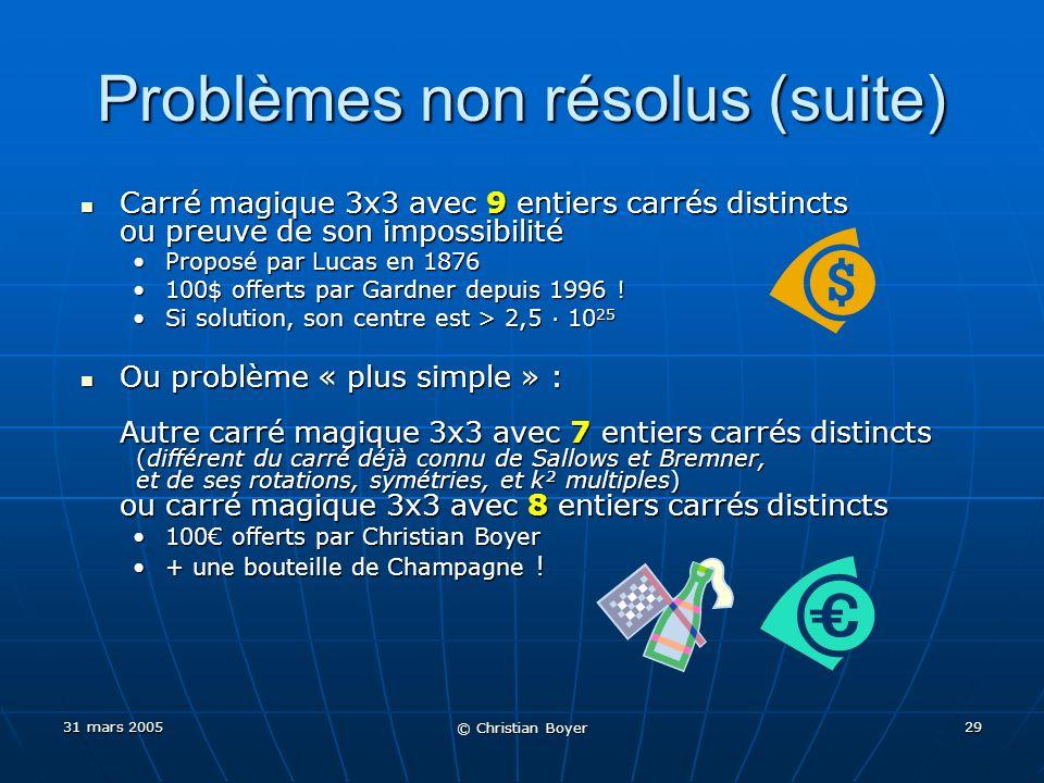 31 mars 2005 © Christian Boyer 28 Quelques problèmes non résolus Carrés magiques de carrés Carrés magiques de carrés Carrés magiques de cubes (dentiers positifs) Carrés magiques de cubes (dentiers positifs) 3x3 Qui .