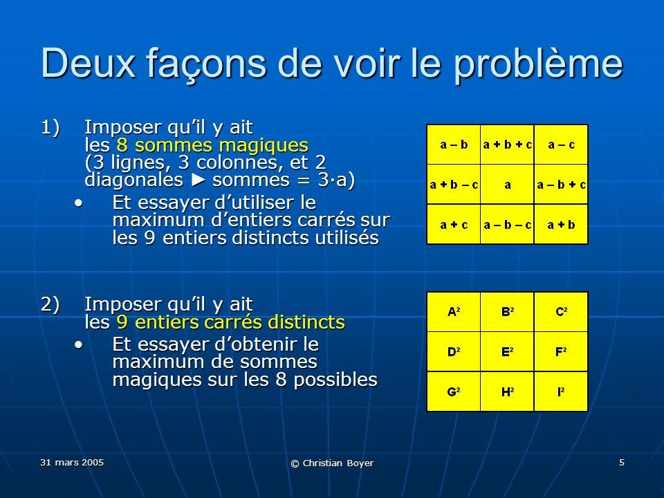 31 mars 2005 © Christian Boyer 5 Deux façons de voir le problème 1)Imposer quil y ait les 8 sommes magiques (3 lignes, 3 colonnes, et 2 diagonales sommes = 3a) Et essayer dutiliser le maximum dentiers carrés sur les 9 entiers distincts utilisésEt essayer dutiliser le maximum dentiers carrés sur les 9 entiers distincts utilisés 2)Imposer quil y ait les 9 entiers carrés distincts Et essayer dobtenir le maximum de sommes magiques sur les 8 possiblesEt essayer dobtenir le maximum de sommes magiques sur les 8 possibles
