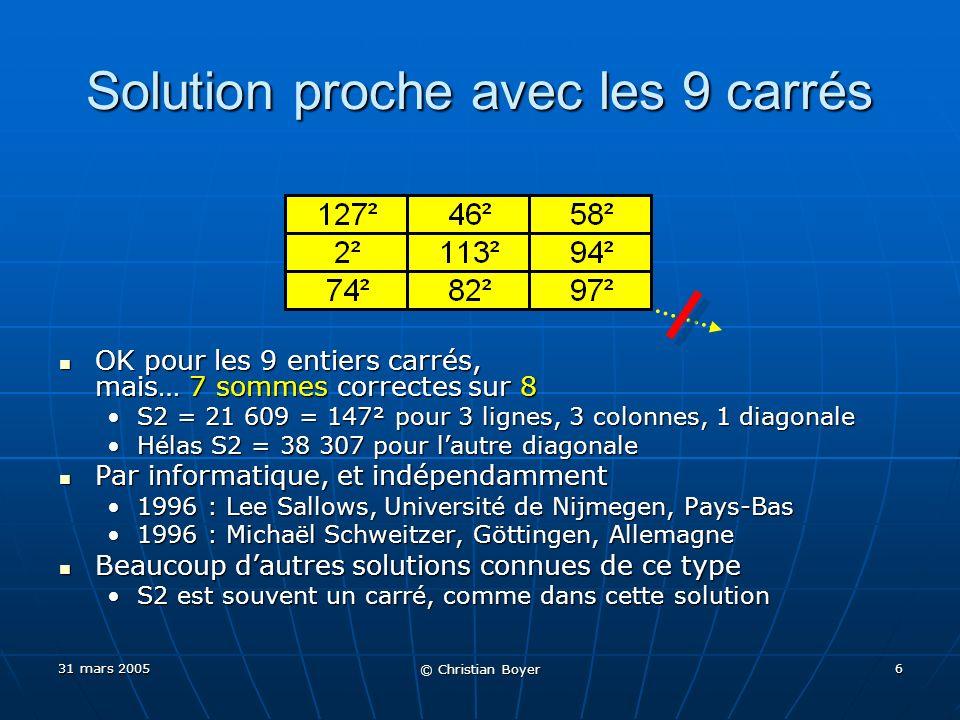 31 mars 2005 © Christian Boyer 16 S2 = 85(k² + 29) S2 = 85(k² + 29) Avec k = 3 S2 = 85(3² + 29) = 3230 Avec k = 3 S2 = 85(3² + 29) = 3230 Cas 4x4 : premières solutions paramétriques simples