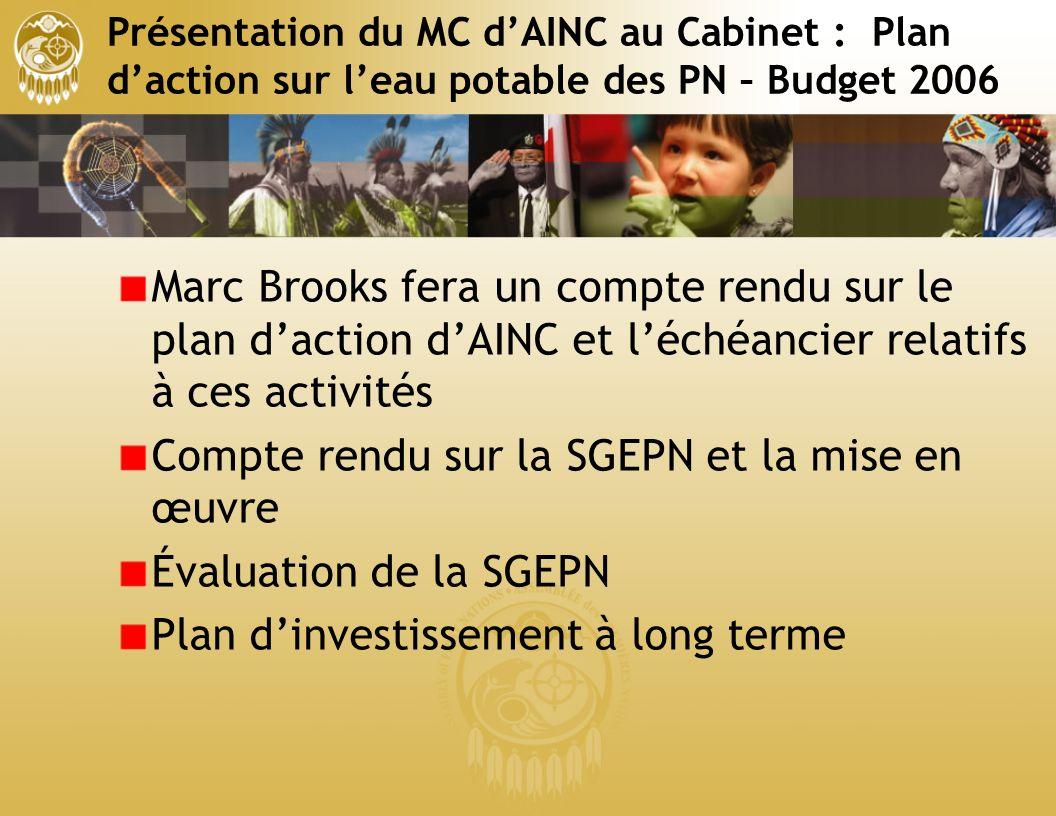 Présentation du MC dAINC au Cabinet : Plan daction sur leau potable des PN – Budget 2006 Marc Brooks fera un compte rendu sur le plan daction dAINC et léchéancier relatifs à ces activités Compte rendu sur la SGEPN et la mise en œuvre Évaluation de la SGEPN Plan dinvestissement à long terme