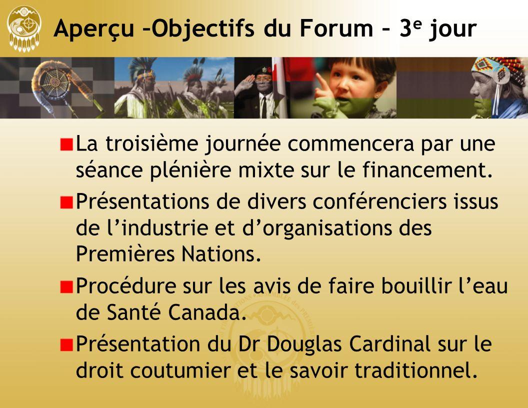 Aperçu –Objectifs du Forum – 3 e jour La troisième journée commencera par une séance plénière mixte sur le financement.