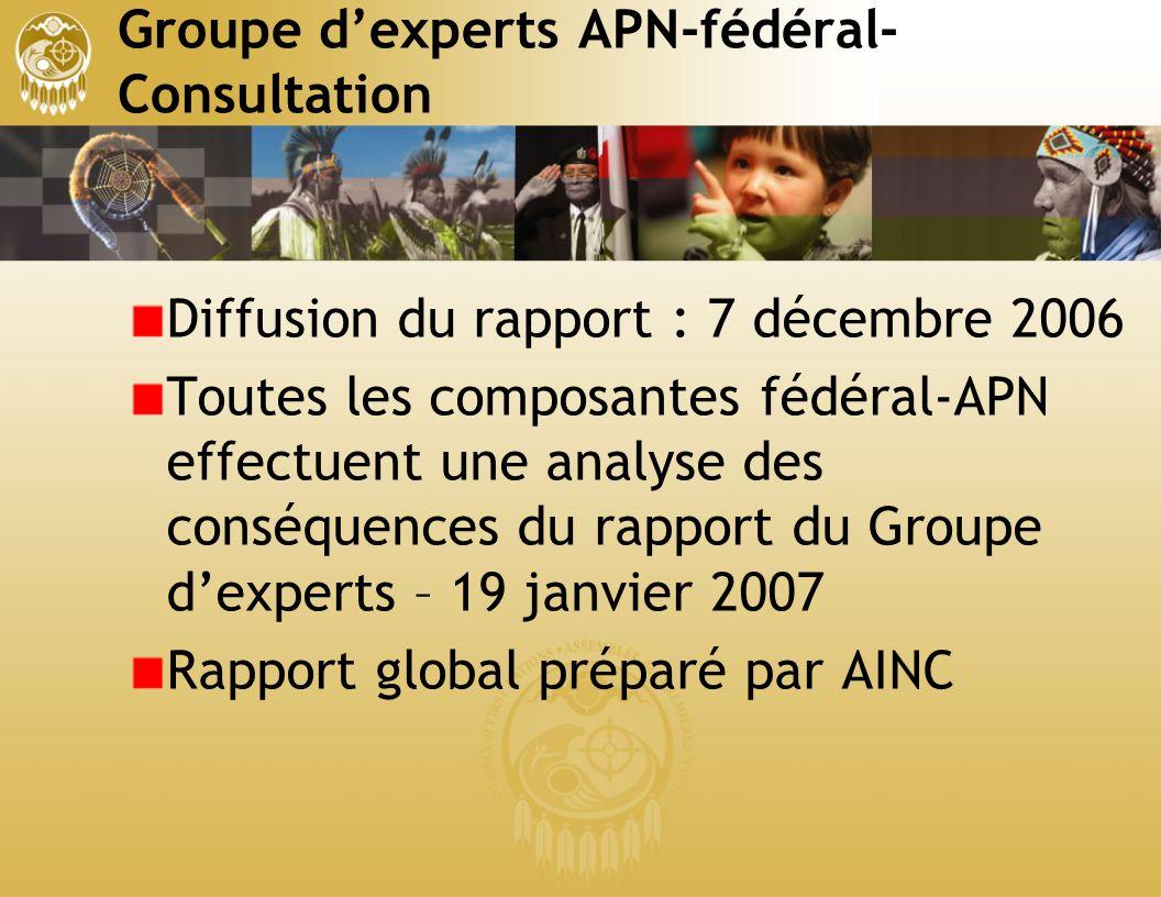 Groupe dexperts APN-fédéral- Consultation Diffusion du rapport : 7 décembre 2006 Toutes les composantes fédéral-APN effectuent une analyse des conséquences du rapport du Groupe dexperts – 19 janvier 2007 Rapport global préparé par AINC