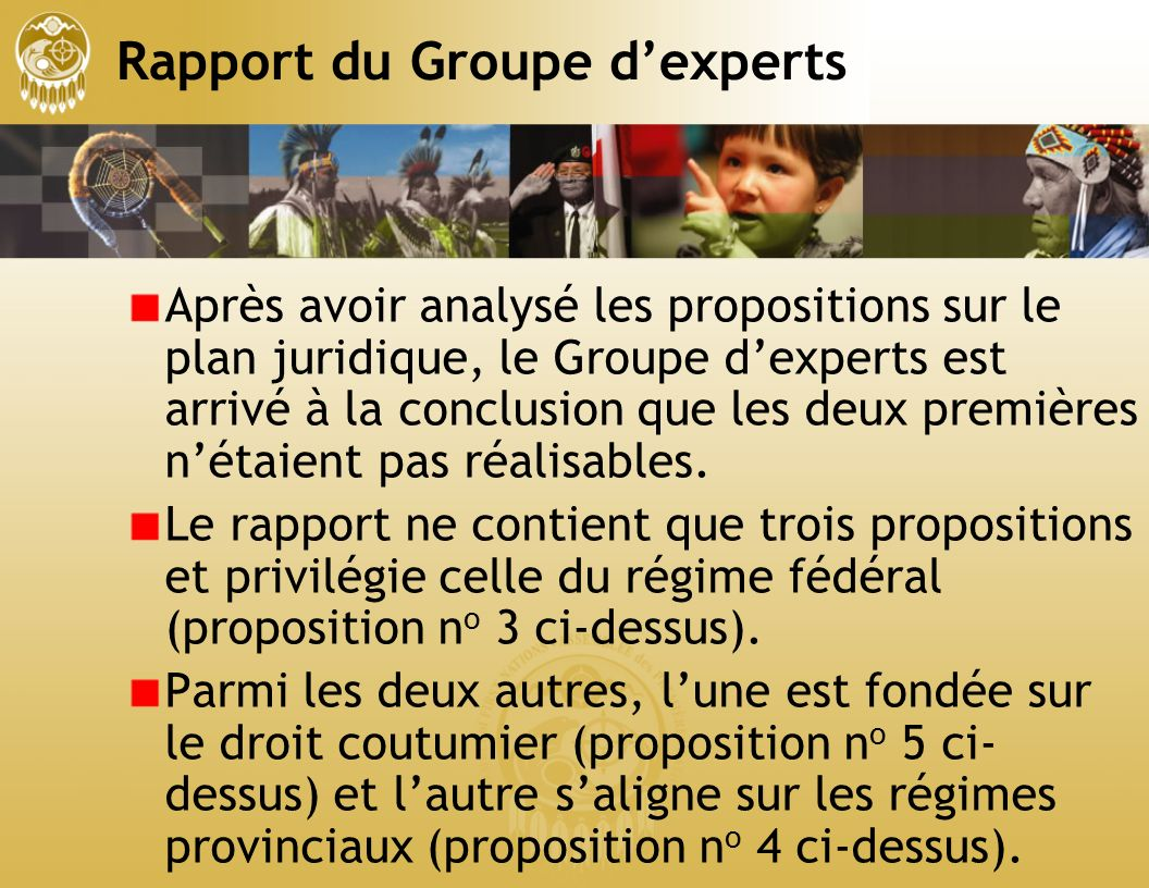 Rapport du Groupe dexperts Après avoir analysé les propositions sur le plan juridique, le Groupe dexperts est arrivé à la conclusion que les deux premières nétaient pas réalisables.