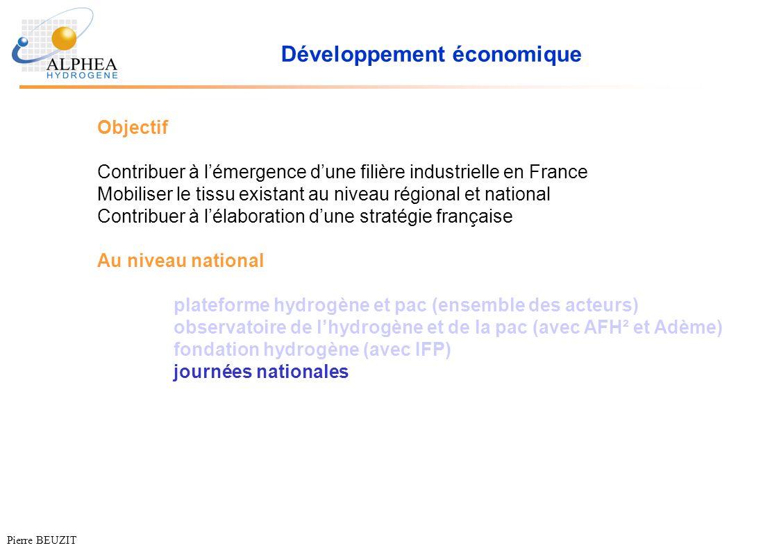 Développement économique Objectif Contribuer à lémergence dune filière industrielle en France Mobiliser le tissu existant au niveau régional et nation